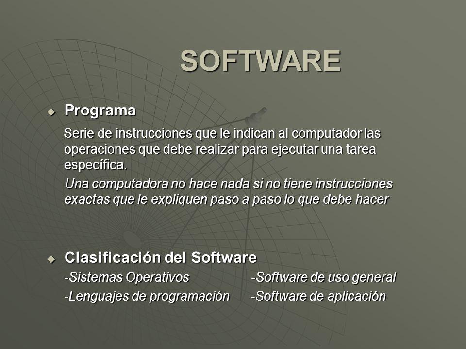SOFTWARE Programa Programa Serie de instrucciones que le indican al computador las operaciones que debe realizar para ejecutar una tarea específica. S