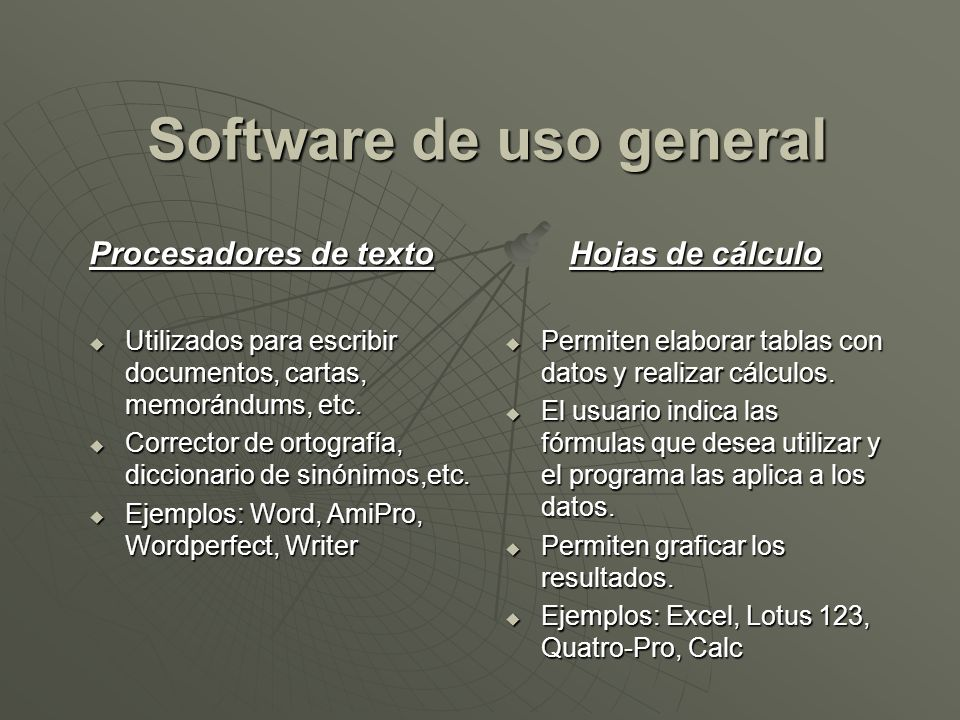 Software de uso general Procesadores de texto Utilizados para escribir documentos, cartas, memorándums, etc. Utilizados para escribir documentos, cart