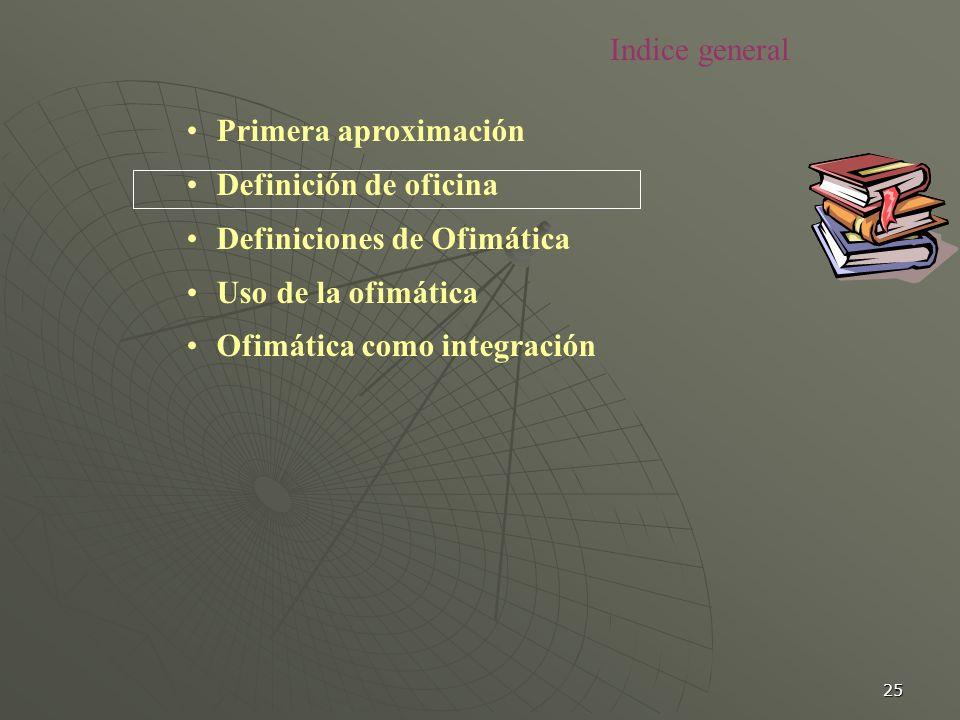 25 Primera aproximación Definición de oficina Definiciones de Ofimática Uso de la ofimática Ofimática como integración Indice general