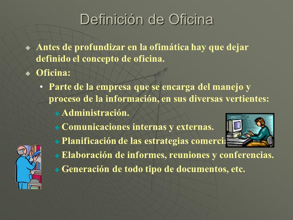 Definición de Oficina Antes de profundizar en la ofimática hay que dejar definido el concepto de oficina. Oficina: Parte de la empresa que se encarga