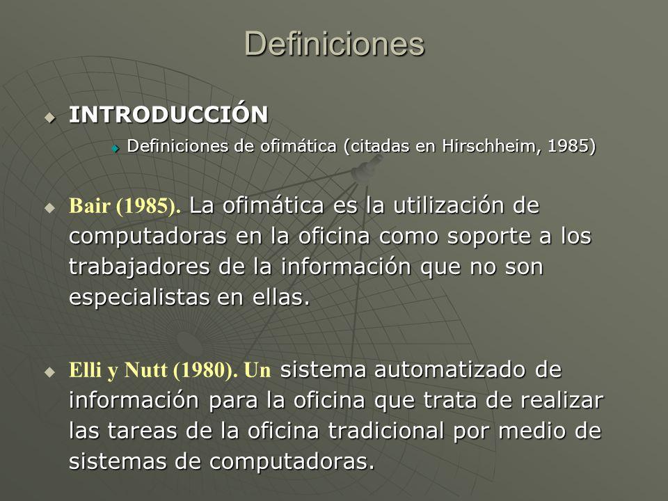 Definiciones INTRODUCCIÓN INTRODUCCIÓN Definiciones de ofimática (citadas en Hirschheim, 1985) Definiciones de ofimática (citadas en Hirschheim, 1985)