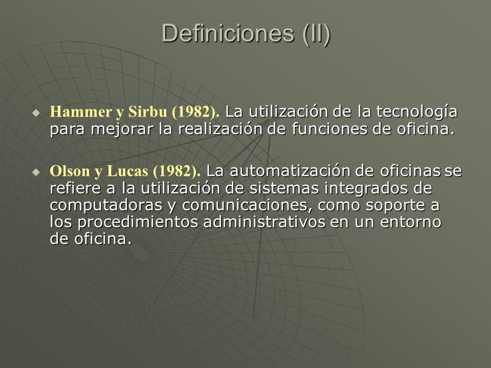 Definiciones (II) La utilización de la tecnología para mejorar la realización de funciones de oficina. Hammer y Sirbu (1982). La utilización de la tec