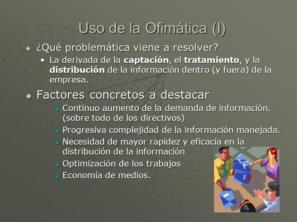 Uso de la Ofimática (I) ¿Qué problemática viene a resolver? ¿Qué problemática viene a resolver? La derivada de la captación, el tratamiento, y la dist