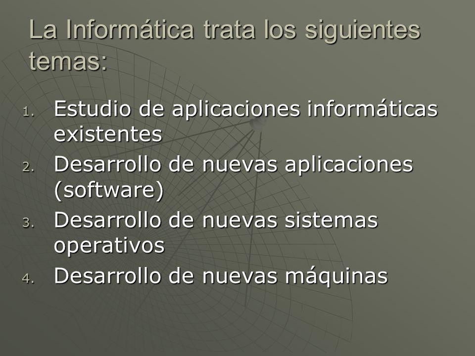 La Informática trata los siguientes temas: 1. Estudio de aplicaciones informáticas existentes 2. Desarrollo de nuevas aplicaciones (software) 3. Desar