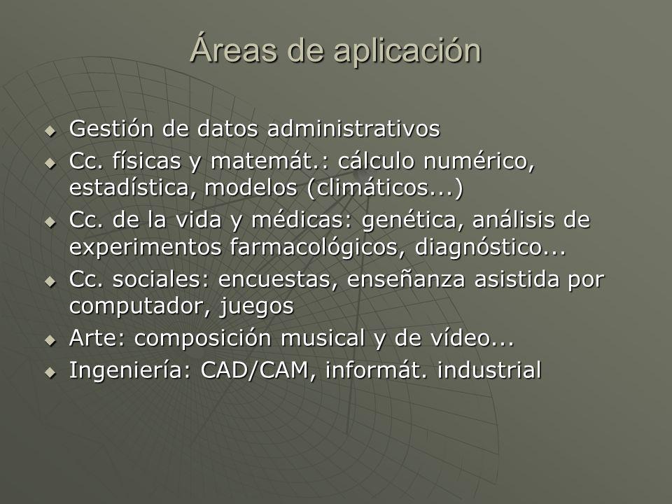 Áreas de aplicación Gestión de datos administrativos Gestión de datos administrativos Cc. físicas y matemát.: cálculo numérico, estadística, modelos (