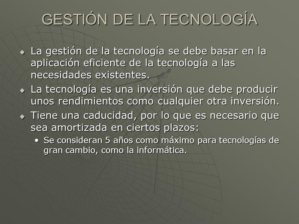 GESTIÓN DE LA TECNOLOGÍA La gestión de la tecnología se debe basar en la aplicación eficiente de la tecnología a las necesidades existentes. La gestió