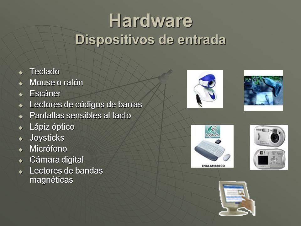 Hardware Dispositivos de entrada Teclado Teclado Mouse o ratón Mouse o ratón Escáner Escáner Lectores de códigos de barras Lectores de códigos de barr