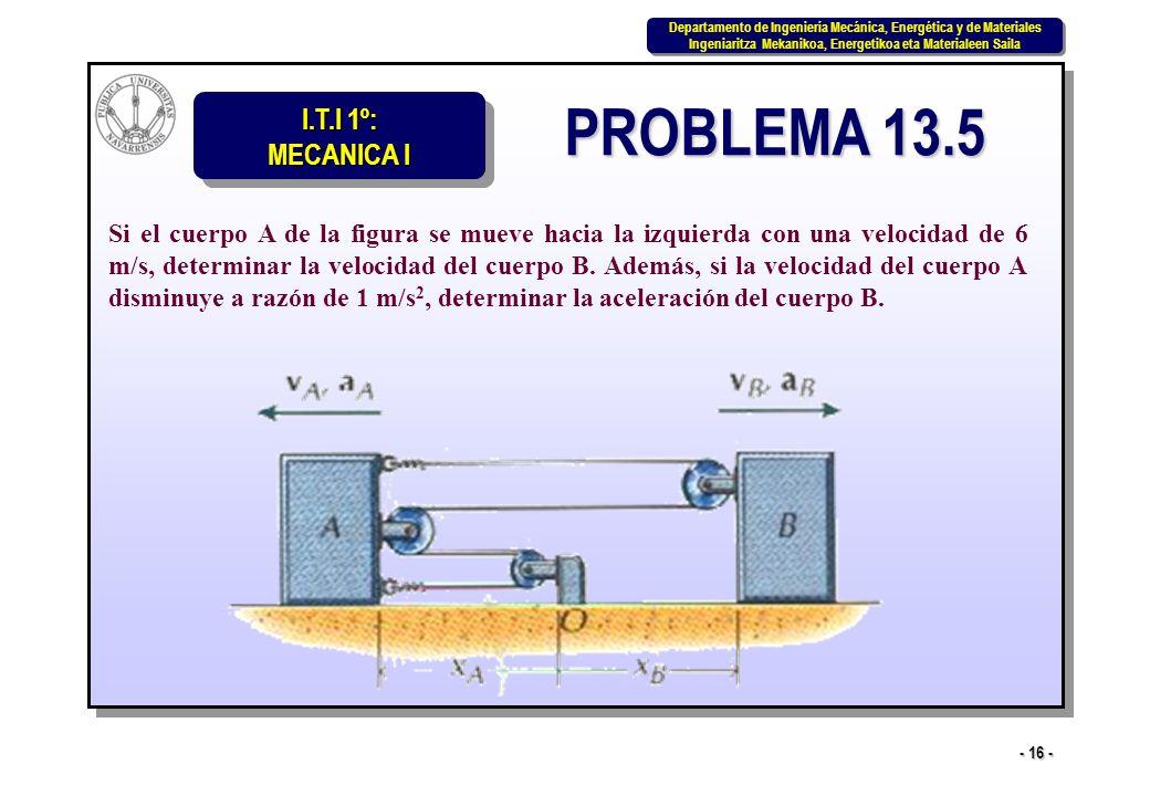 I.T.I 1º: MECANICA I Departamento de Ingeniería Mecánica, Energética y de Materiales Ingeniaritza Mekanikoa, Energetikoa eta Materialeen Saila Departamento de Ingeniería Mecánica, Energética y de Materiales Ingeniaritza Mekanikoa, Energetikoa eta Materialeen Saila - 16 - PROBLEMA 13.5 Si el cuerpo A de la figura se mueve hacia la izquierda con una velocidad de 6 m/s, determinar la velocidad del cuerpo B.