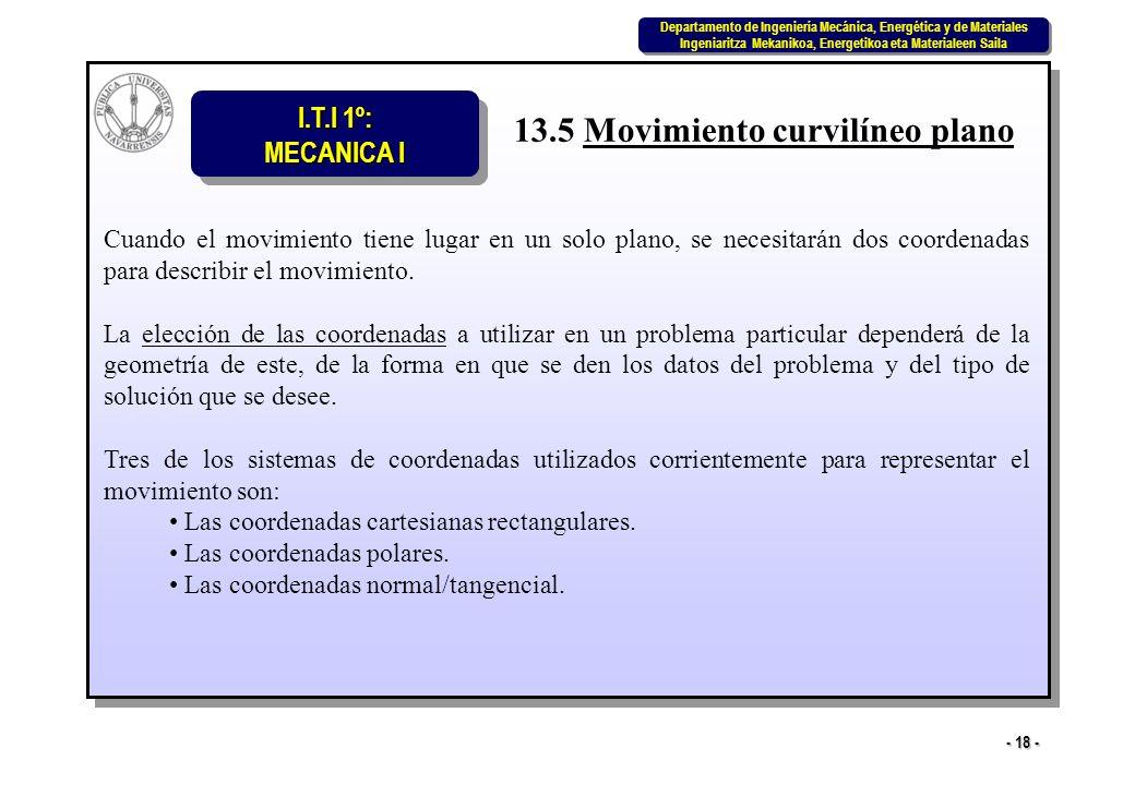 I.T.I 1º: MECANICA I Departamento de Ingeniería Mecánica, Energética y de Materiales Ingeniaritza Mekanikoa, Energetikoa eta Materialeen Saila Departamento de Ingeniería Mecánica, Energética y de Materiales Ingeniaritza Mekanikoa, Energetikoa eta Materialeen Saila - 18 - 13.5 Movimiento curvilíneo plano Cuando el movimiento tiene lugar en un solo plano, se necesitarán dos coordenadas para describir el movimiento.