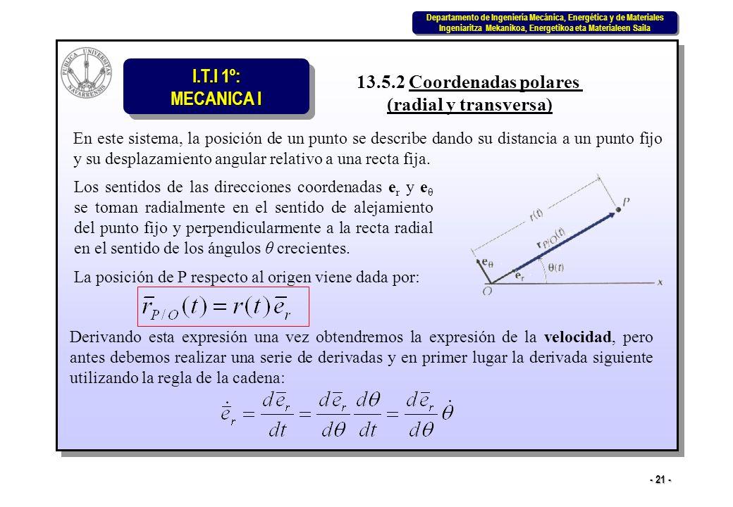 I.T.I 1º: MECANICA I Departamento de Ingeniería Mecánica, Energética y de Materiales Ingeniaritza Mekanikoa, Energetikoa eta Materialeen Saila Departamento de Ingeniería Mecánica, Energética y de Materiales Ingeniaritza Mekanikoa, Energetikoa eta Materialeen Saila - 21 - 13.5.2 Coordenadas polares (radial y transversa) En este sistema, la posición de un punto se describe dando su distancia a un punto fijo y su desplazamiento angular relativo a una recta fija.