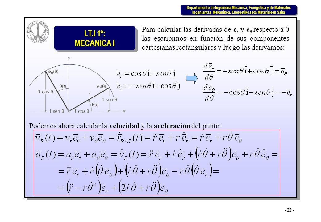 I.T.I 1º: MECANICA I Departamento de Ingeniería Mecánica, Energética y de Materiales Ingeniaritza Mekanikoa, Energetikoa eta Materialeen Saila Departamento de Ingeniería Mecánica, Energética y de Materiales Ingeniaritza Mekanikoa, Energetikoa eta Materialeen Saila - 22 - Para calcular las derivadas de e r y e θ respecto a θ las escribimos en función de sus componentes cartesianas rectangulares y luego las derivamos: Podemos ahora calcular la velocidad y la aceleración del punto: