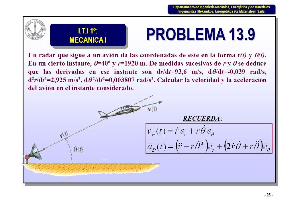 I.T.I 1º: MECANICA I Departamento de Ingeniería Mecánica, Energética y de Materiales Ingeniaritza Mekanikoa, Energetikoa eta Materialeen Saila Departamento de Ingeniería Mecánica, Energética y de Materiales Ingeniaritza Mekanikoa, Energetikoa eta Materialeen Saila - 25 - PROBLEMA 13.9 Un radar que sigue a un avión da las coordenadas de este en la forma r(t) y (t).