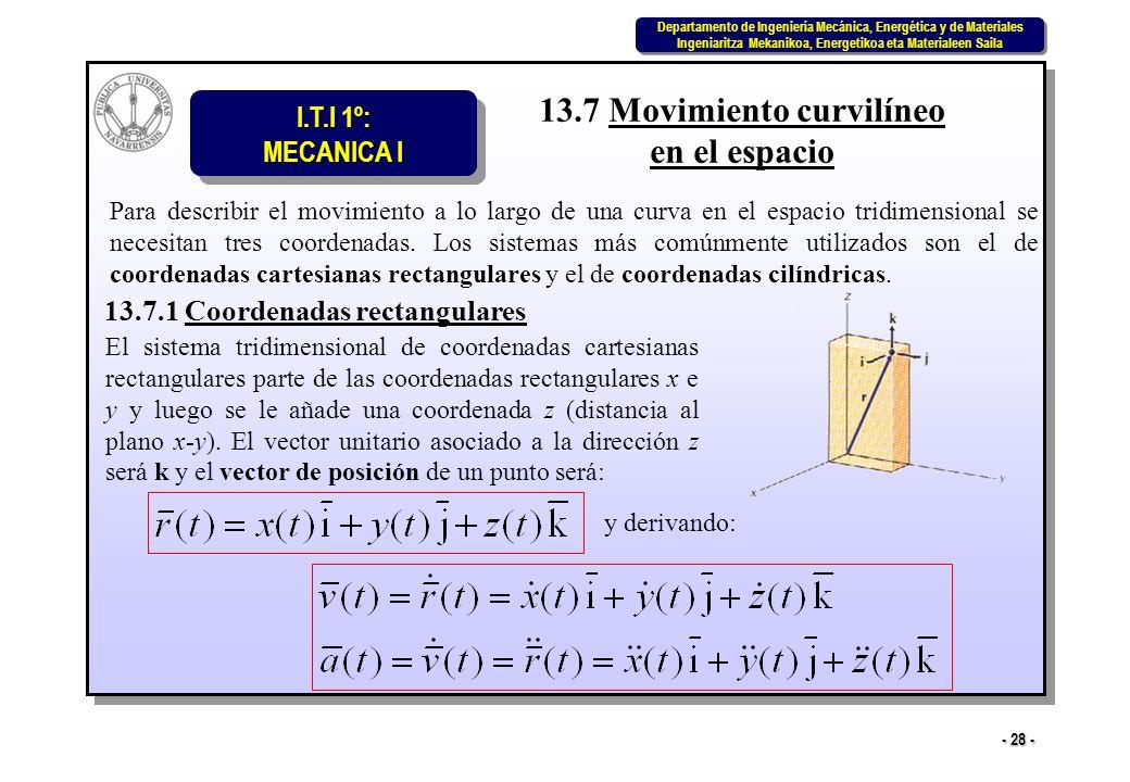 I.T.I 1º: MECANICA I Departamento de Ingeniería Mecánica, Energética y de Materiales Ingeniaritza Mekanikoa, Energetikoa eta Materialeen Saila Departamento de Ingeniería Mecánica, Energética y de Materiales Ingeniaritza Mekanikoa, Energetikoa eta Materialeen Saila - 28 - 13.7 Movimiento curvilíneo en el espacio Para describir el movimiento a lo largo de una curva en el espacio tridimensional se necesitan tres coordenadas.