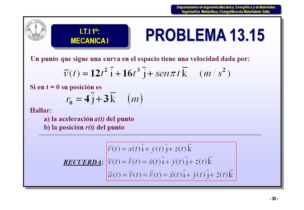 I.T.I 1º: MECANICA I Departamento de Ingeniería Mecánica, Energética y de Materiales Ingeniaritza Mekanikoa, Energetikoa eta Materialeen Saila Departamento de Ingeniería Mecánica, Energética y de Materiales Ingeniaritza Mekanikoa, Energetikoa eta Materialeen Saila - 30 - PROBLEMA 13.15 Un punto que sigue una curva en el espacio tiene una velocidad dada por: Si en t = 0 su posición es Hallar: a) la aceleración a(t) del punto b) la posición r(t) del punto RECUERDA: