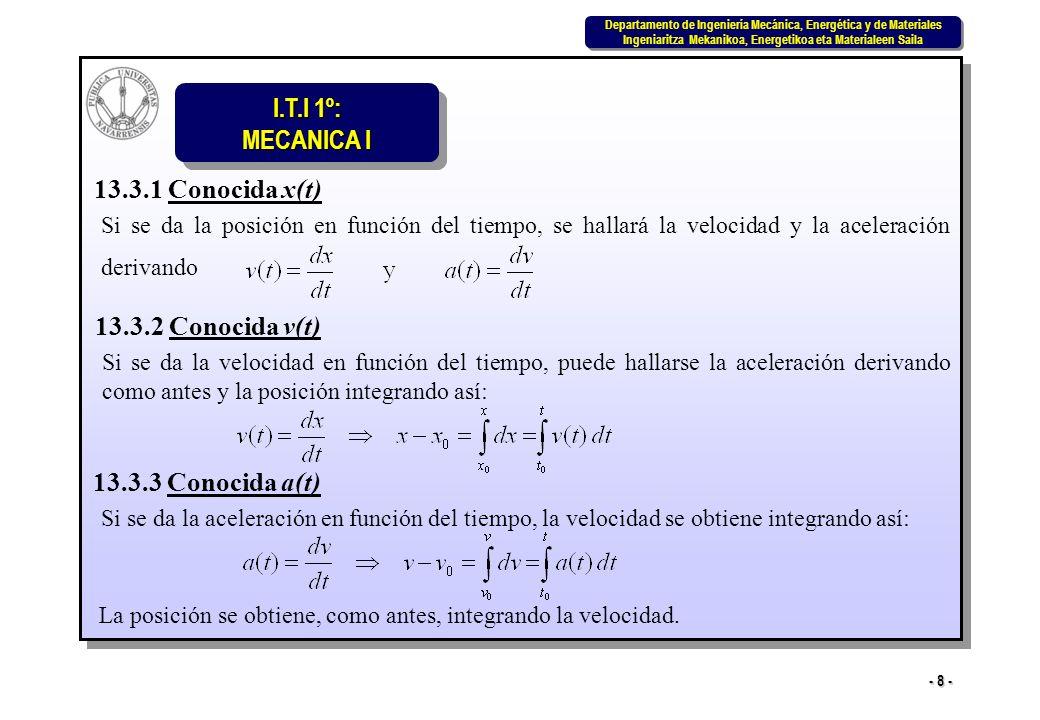 I.T.I 1º: MECANICA I Departamento de Ingeniería Mecánica, Energética y de Materiales Ingeniaritza Mekanikoa, Energetikoa eta Materialeen Saila Departamento de Ingeniería Mecánica, Energética y de Materiales Ingeniaritza Mekanikoa, Energetikoa eta Materialeen Saila - 8 - 13.3.1 Conocida x(t) Si se da la posición en función del tiempo, se hallará la velocidad y la aceleración derivando 13.3.2 Conocida v(t) Si se da la velocidad en función del tiempo, puede hallarse la aceleración derivando como antes y la posición integrando así: 13.3.3 Conocida a(t) Si se da la aceleración en función del tiempo, la velocidad se obtiene integrando así: La posición se obtiene, como antes, integrando la velocidad.