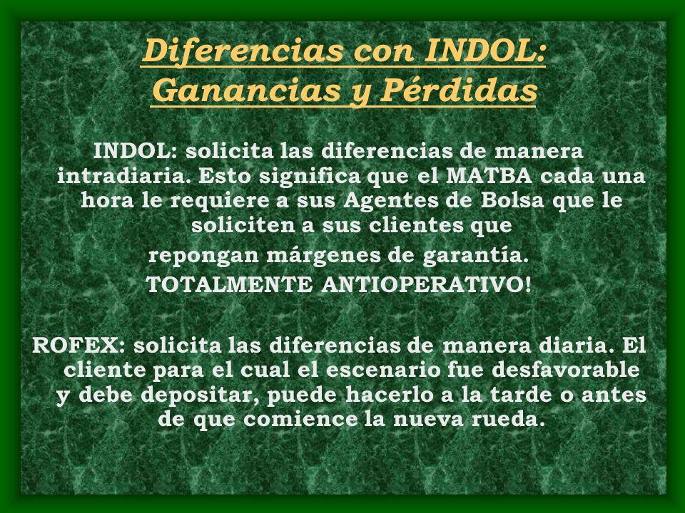 Diferencias con INDOL: Ganancias y Pérdidas INDOL: solicita las diferencias de manera intradiaria. Esto significa que el MATBA cada una hora le requie