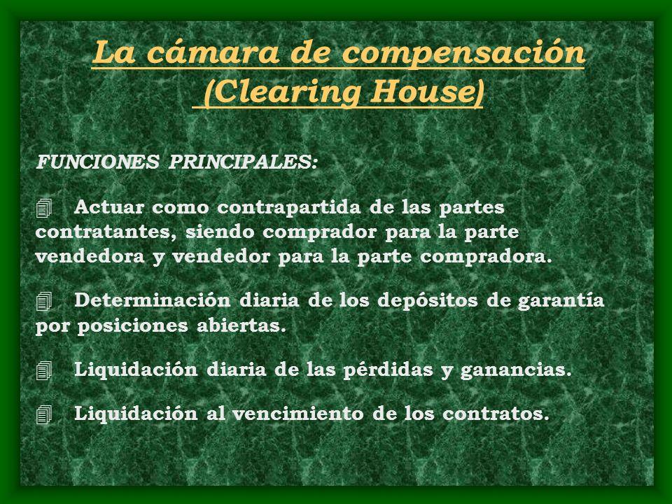 FUNCIONES PRINCIPALES: 4 Actuar como contrapartida de las partes contratantes, siendo comprador para la parte vendedora y vendedor para la parte compr