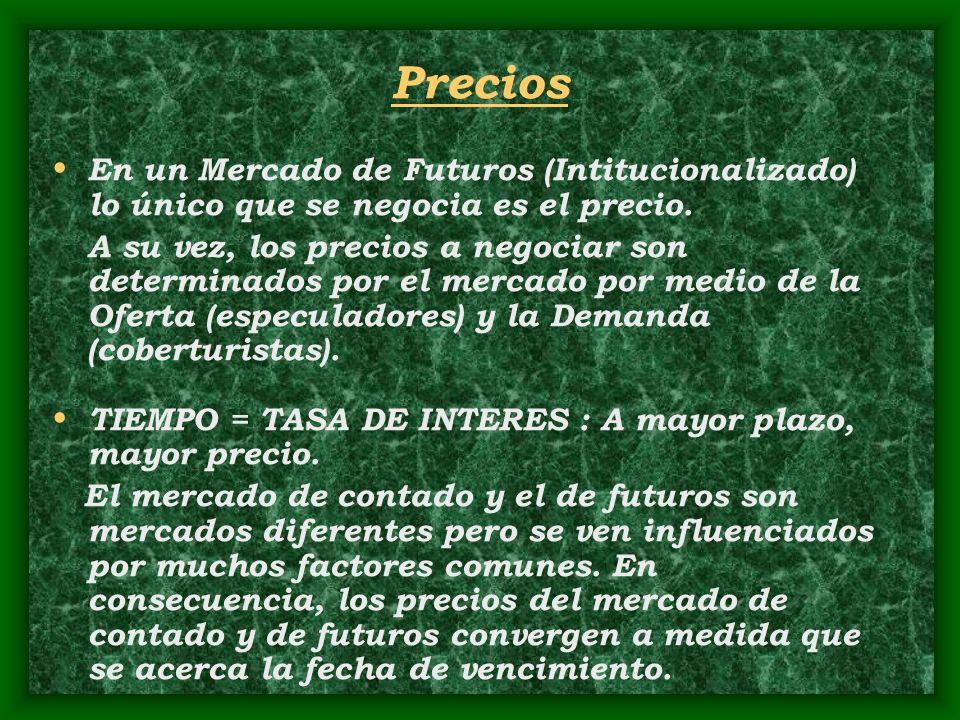 Precios En un Mercado de Futuros (Intitucionalizado) lo único que se negocia es el precio. A su vez, los precios a negociar son determinados por el me