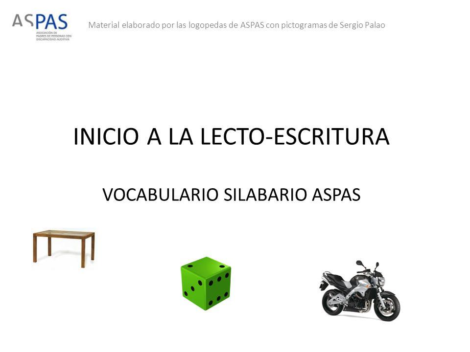INICIO A LA LECTO-ESCRITURA VOCABULARIO SILABARIO ASPAS Material elaborado por las logopedas de ASPAS con pictogramas de Sergio Palao