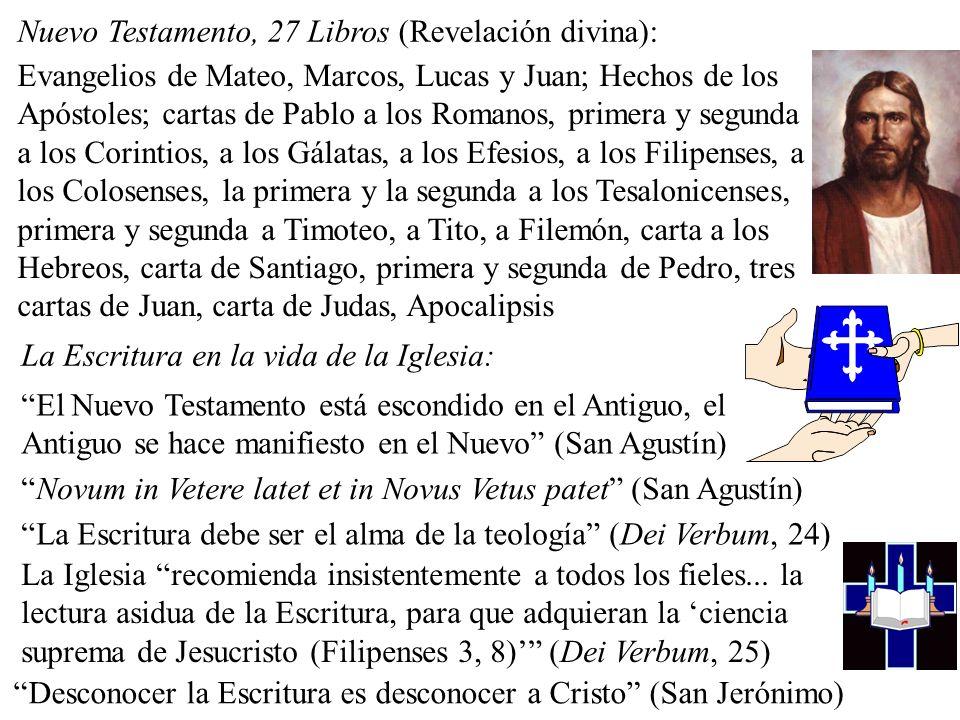 Nuevo Testamento, 27 Libros (Revelación divina): Evangelios de Mateo, Marcos, Lucas y Juan; Hechos de los Apóstoles; cartas de Pablo a los Romanos, primera y segunda a los Corintios, a los Gálatas, a los Efesios, a los Filipenses, a los Colosenses, la primera y la segunda a los Tesalonicenses, primera y segunda a Timoteo, a Tito, a Filemón, carta a los Hebreos, carta de Santiago, primera y segunda de Pedro, tres cartas de Juan, carta de Judas, Apocalipsis El Nuevo Testamento está escondido en el Antiguo, el Antiguo se hace manifiesto en el Nuevo (San Agustín) Novum in Vetere latet et in Novus Vetus patet (San Agustín) La Escritura debe ser el alma de la teología (Dei Verbum, 24) Desconocer la Escritura es desconocer a Cristo (San Jerónimo) La Iglesia recomienda insistentemente a todos los fieles...