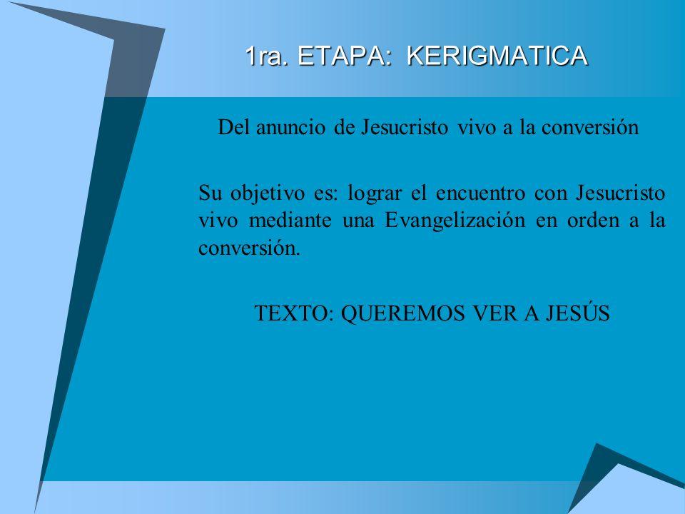 Fue presentado el Proyecto en sus Cuatro Etapas: 1a. Etapa: Kerigmática:. 2da. Etapa: La Iniciación Cristiana 3ra. Etapa: La Integración a la Comunida