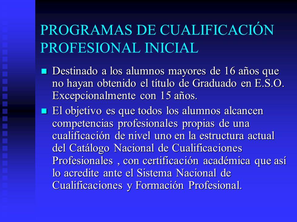 PROGRAMAS DE CUALIFICACIÓN PROFESIONAL INICIAL Destinado a los alumnos mayores de 16 años que no hayan obtenido el título de Graduado en E.S.O.
