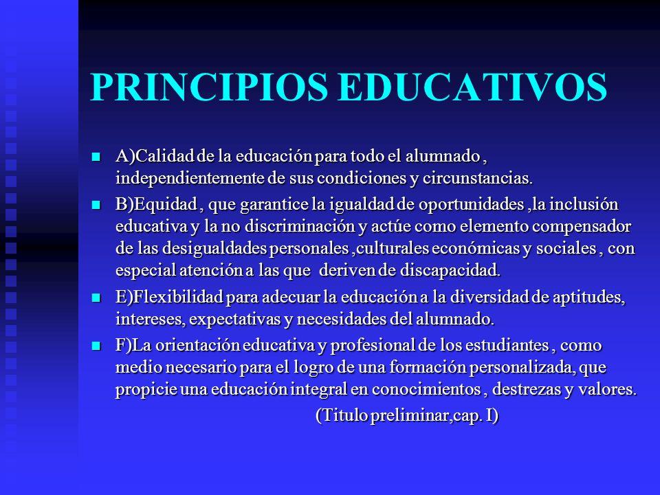 PRINCIPIOS EDUCATIVOS A)Calidad de la educación para todo el alumnado, independientemente de sus condiciones y circunstancias.