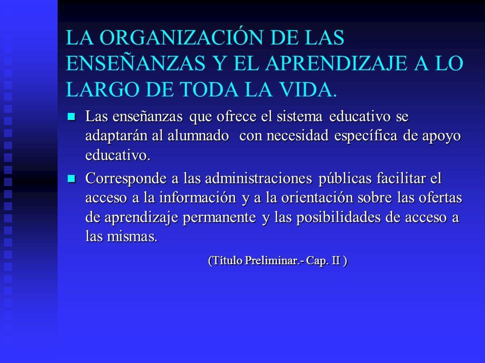 LA ORGANIZACIÓN DE LAS ENSEÑANZAS Y EL APRENDIZAJE A LO LARGO DE TODA LA VIDA.