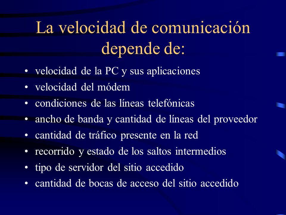 Formas de conexión por línea dedicada (permanente) inalámbrica (antena) cablemódem ADSL (banda ancha) por línea telefónica: usando un módem local a tr