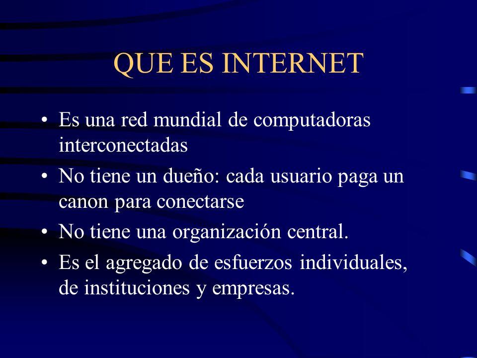QUE ES INTERNET Es una red mundial de computadoras interconectadas No tiene un dueño: cada usuario paga un canon para conectarse No tiene una organización central.
