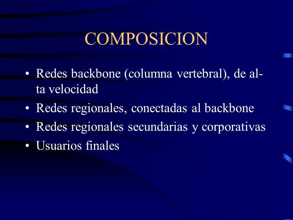 COMPOSICION Redes backbone (columna vertebral), de al- ta velocidad Redes regionales, conectadas al backbone Redes regionales secundarias y corporativas Usuarios finales