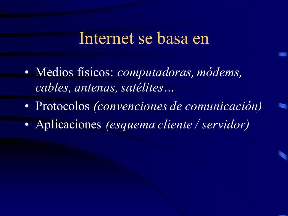 Internet se basa en Medios físicos: computadoras, módems, cables, antenas, satélites… Protocolos (convenciones de comunicación) Aplicaciones (esquema cliente / servidor)