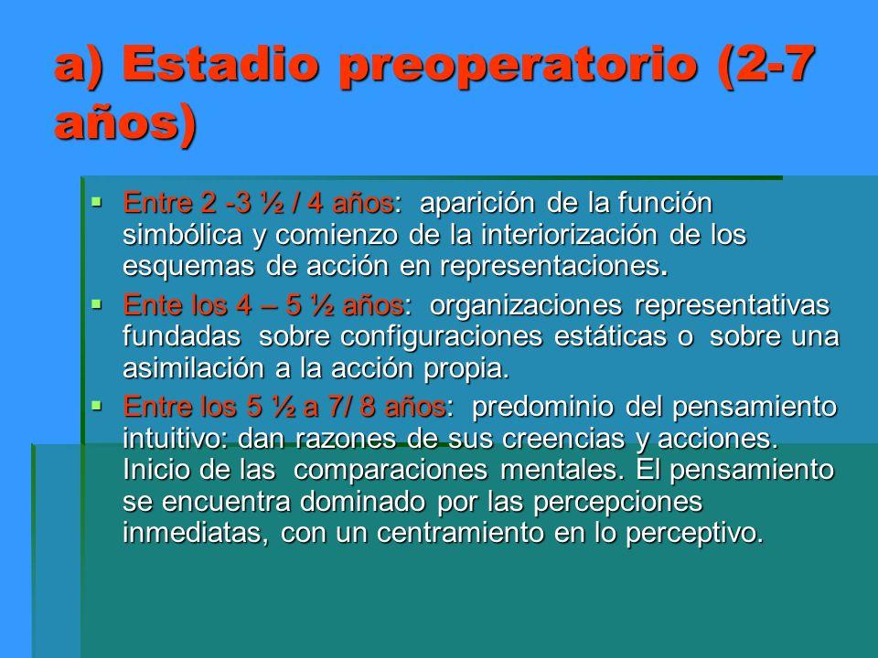 a) Estadio preoperatorio (2-7 años) Entre 2 -3 ½ / 4 años: aparición de la función simbólica y comienzo de la interiorización de los esquemas de acció