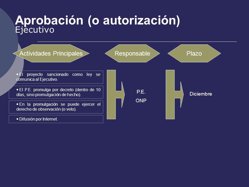 Aprobación (o autorización) Ejecutivo Actividades PrincipalesResponsablePlazo P.E. ONP Diciembre El proyecto sancionado como ley se comunica al Ejecut
