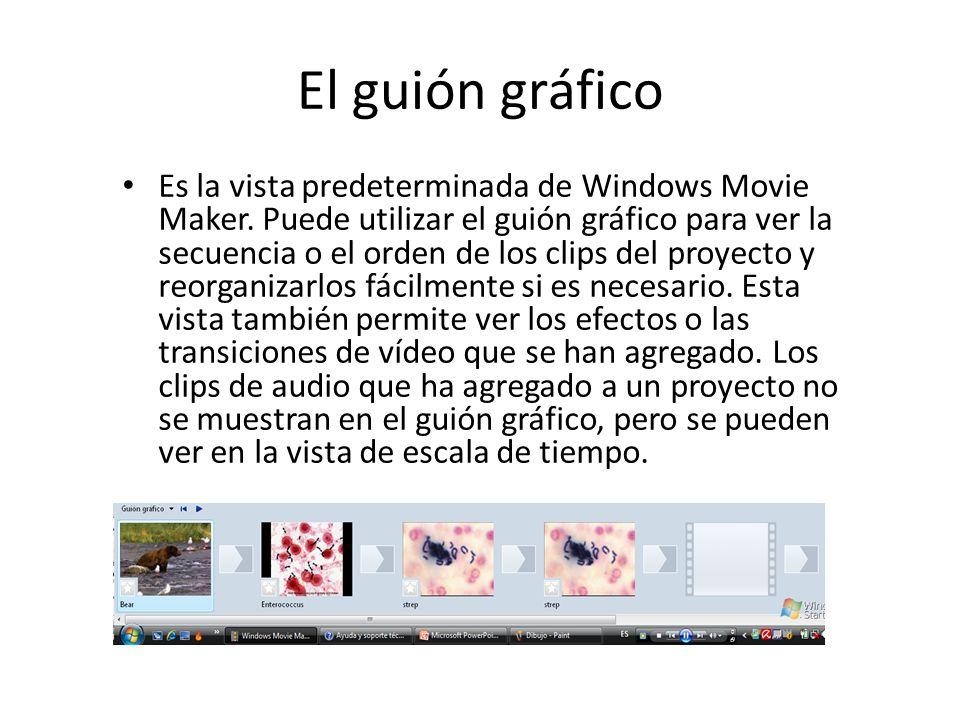 El guión gráfico Es la vista predeterminada de Windows Movie Maker. Puede utilizar el guión gráfico para ver la secuencia o el orden de los clips del