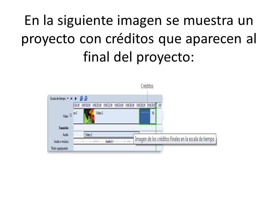 En la siguiente imagen se muestra un proyecto con créditos que aparecen al final del proyecto: