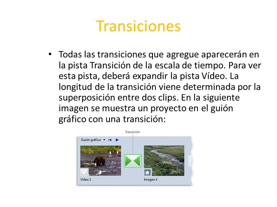 Transiciones Todas las transiciones que agregue aparecerán en la pista Transición de la escala de tiempo. Para ver esta pista, deberá expandir la pist