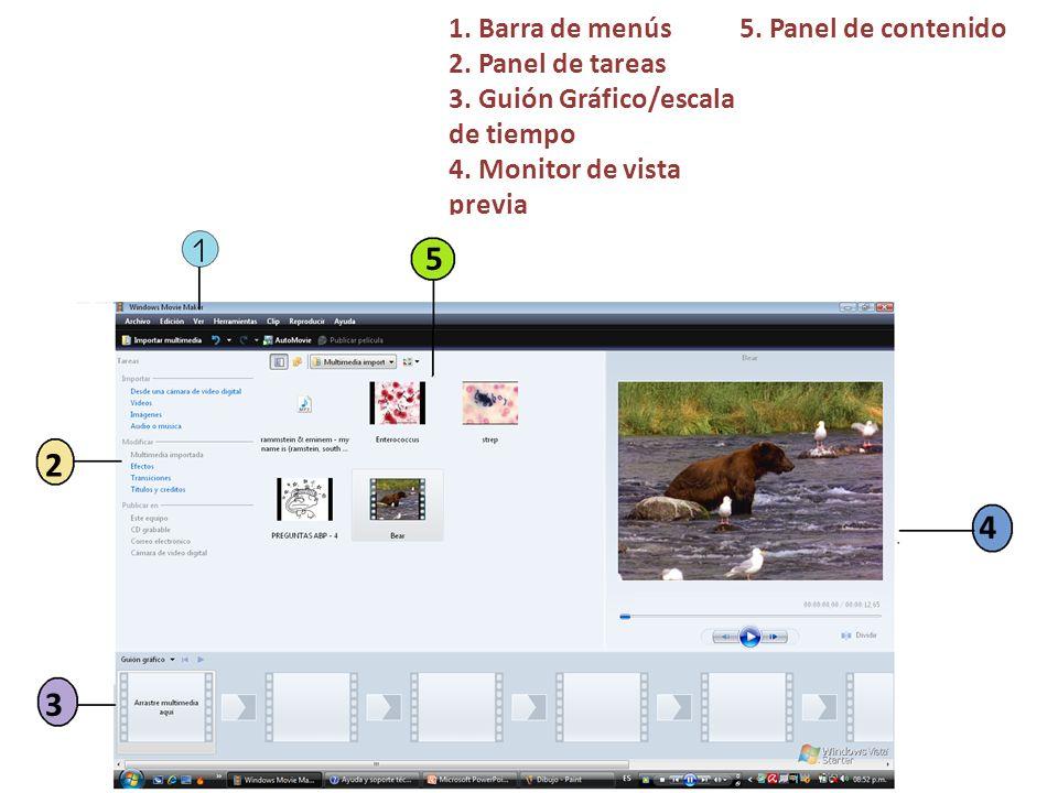 1. Barra de menús 2. Panel de tareas 3. Guión Gráfico/escala de tiempo 4. Monitor de vista previa 5. Panel de contenido 2 3 5 4