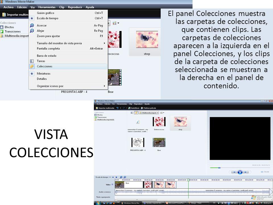 PANEL DE CONTENIDO Muestra clips, efectos o transiciones con los que trabaja mientras crea la película, en función de la vista en la que está trabajando.