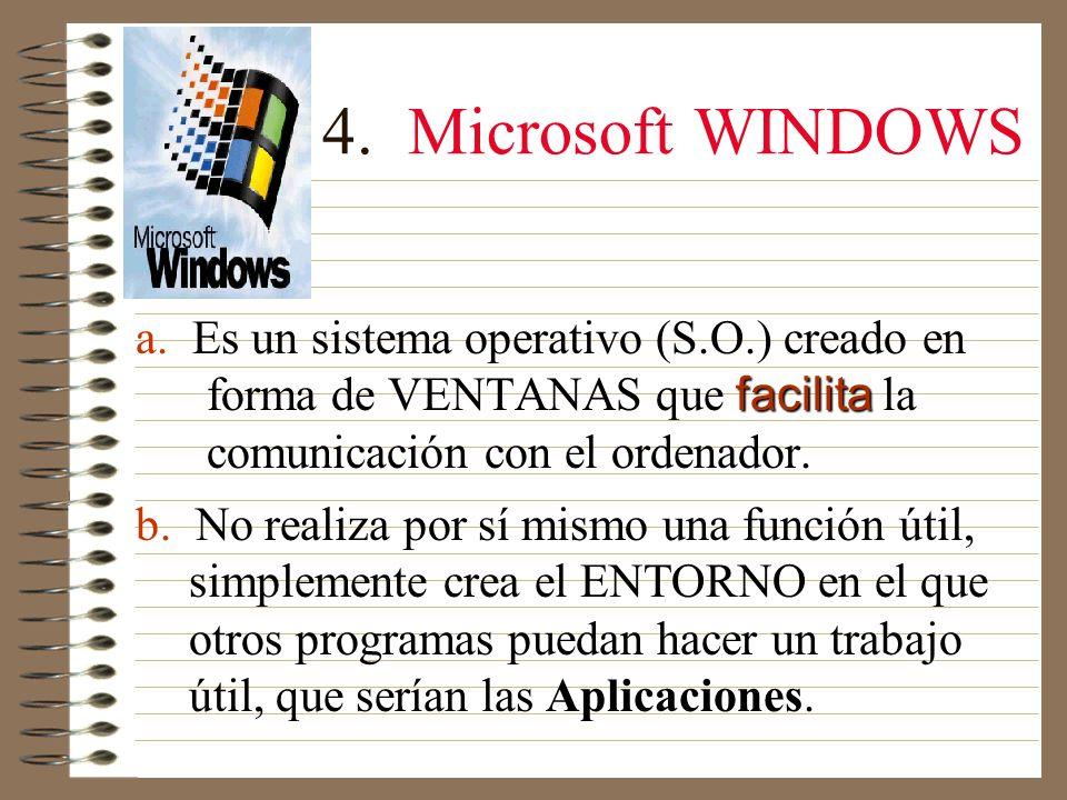 3c. Programas de aplicación Son todos aquellos que realizan por sí mismos una función útil para el usuario; como Microsoft Word, Microsoft Excel, Lotu