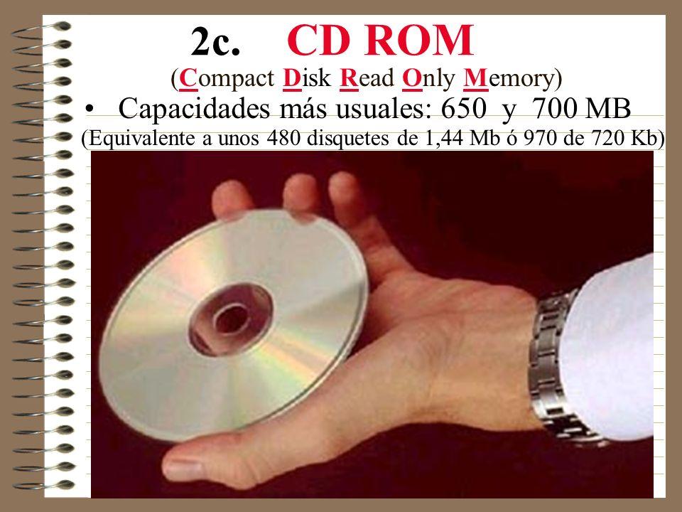 2b. Disquetes Tamaños y capacidades mas usuales: 3 1 / 2 720 KB (DD) y 1,44 MB (HD)