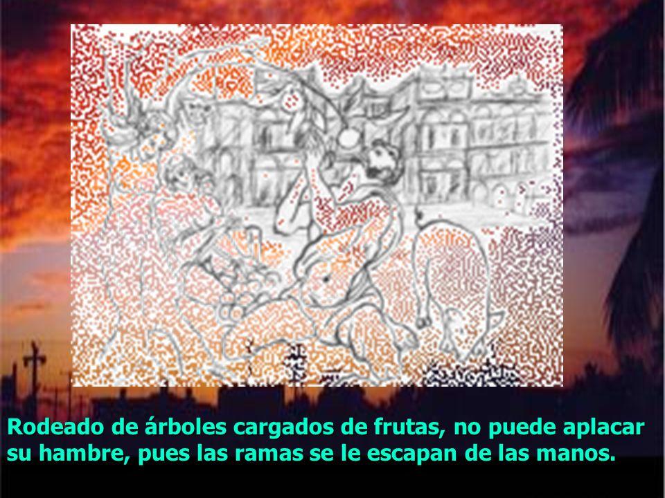 Para Tántalo, el infierno es un inmenso lago rodeado de árboles. Su suplicio consistia en un hambre y una sed eternos.