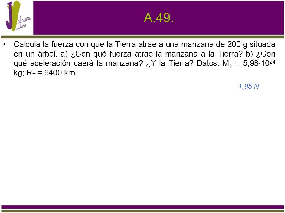A.49. Calcula la fuerza con que la Tierra atrae a una manzana de 200 g situada en un árbol. a) ¿Con qué fuerza atrae la manzana a la Tierra? b) ¿Con q