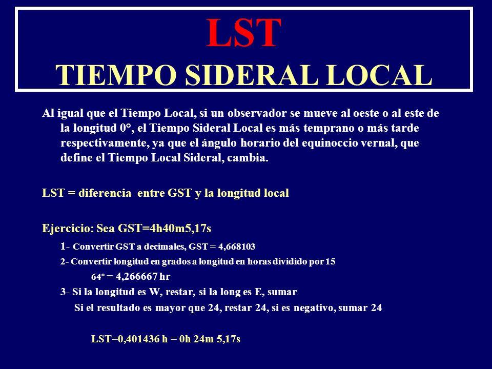 LST TIEMPO SIDERAL LOCAL Al igual que el Tiempo Local, si un observador se mueve al oeste o al este de la longitud 0°, el Tiempo Sideral Local es más