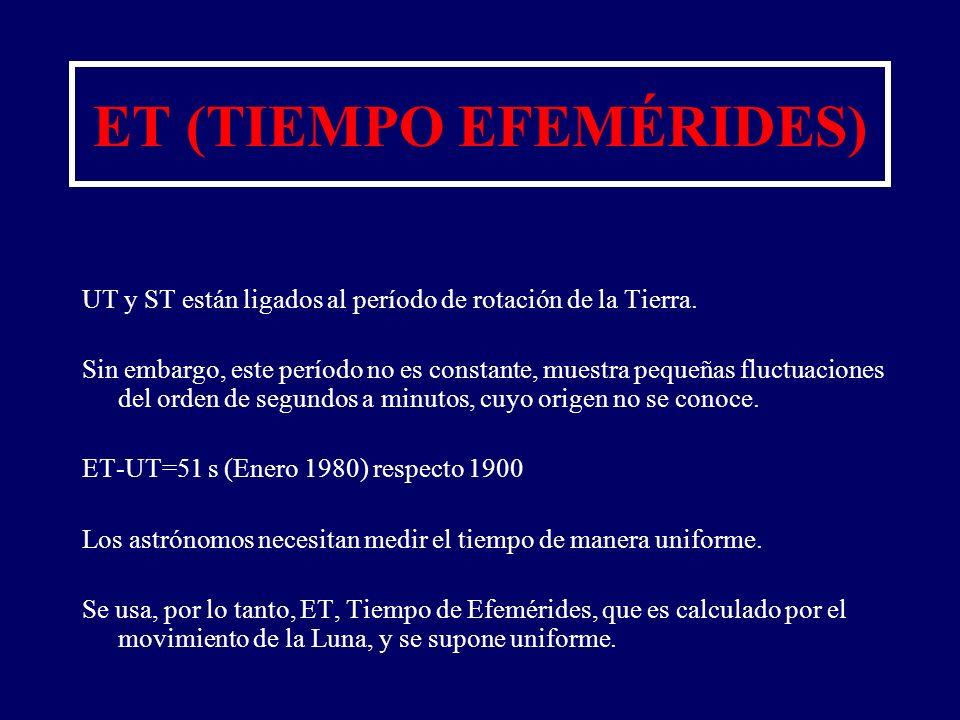ET (TIEMPO EFEMÉRIDES) UT y ST están ligados al período de rotación de la Tierra. Sin embargo, este período no es constante, muestra pequeñas fluctuac