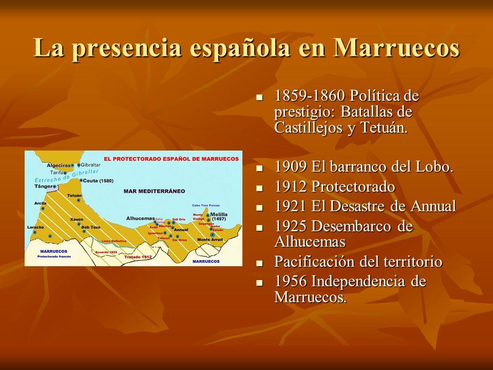 La presencia española en Marruecos 1859-1860 Política de prestigio: Batallas de Castillejos y Tetuán. 1859-1860 Política de prestigio: Batallas de Cas