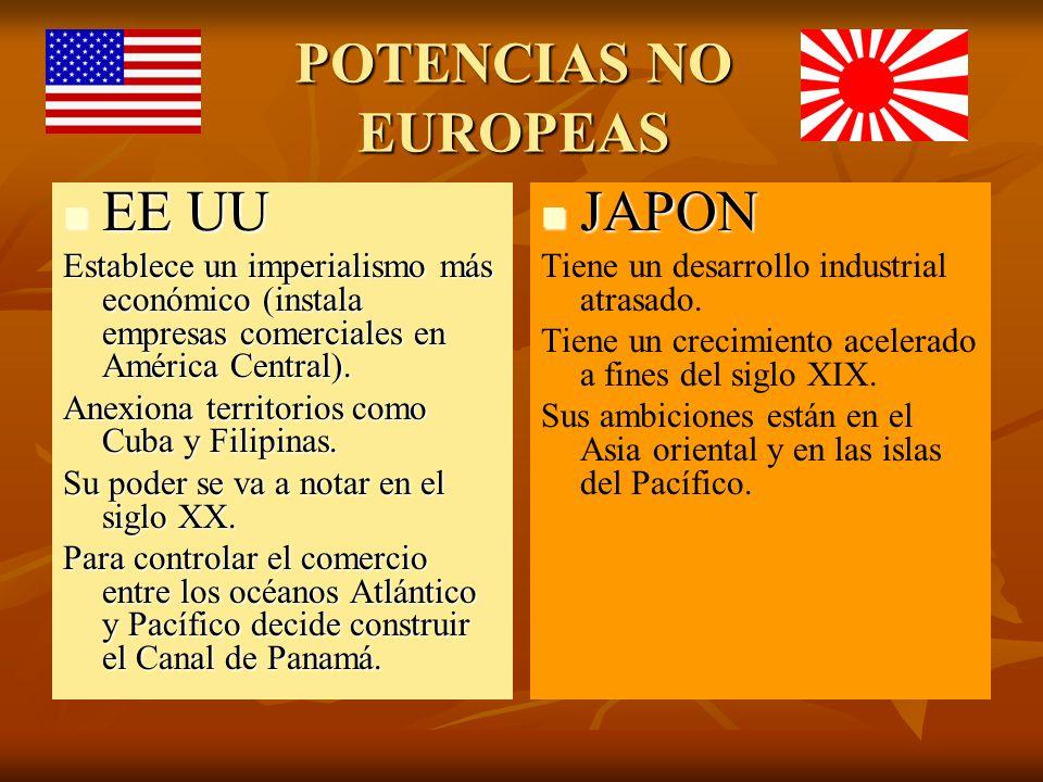 POTENCIAS NO EUROPEAS EE UU EE UU Establece un imperialismo más económico (instala empresas comerciales en América Central). Anexiona territorios como