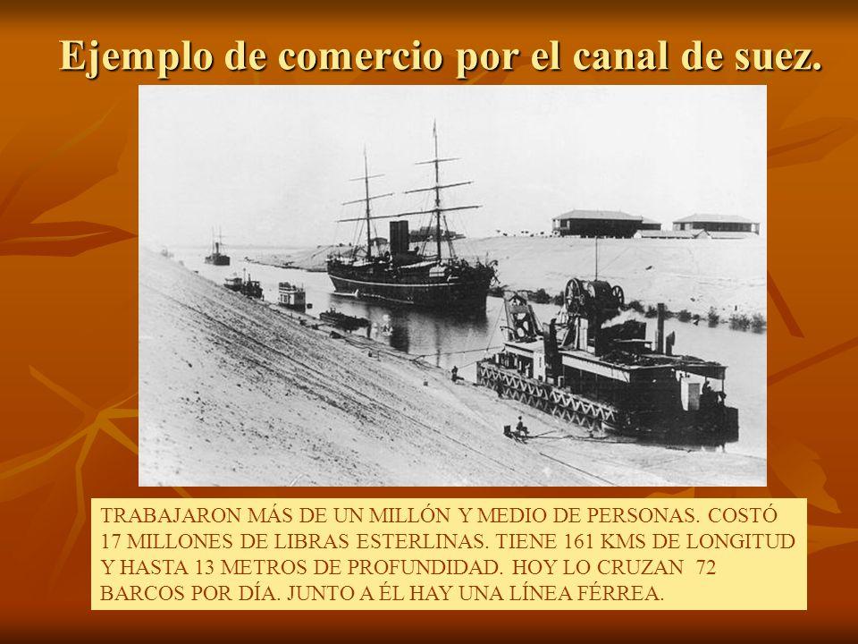 Ejemplo de comercio por el canal de suez. TRABAJARON MÁS DE UN MILLÓN Y MEDIO DE PERSONAS. COSTÓ 17 MILLONES DE LIBRAS ESTERLINAS. TIENE 161 KMS DE LO