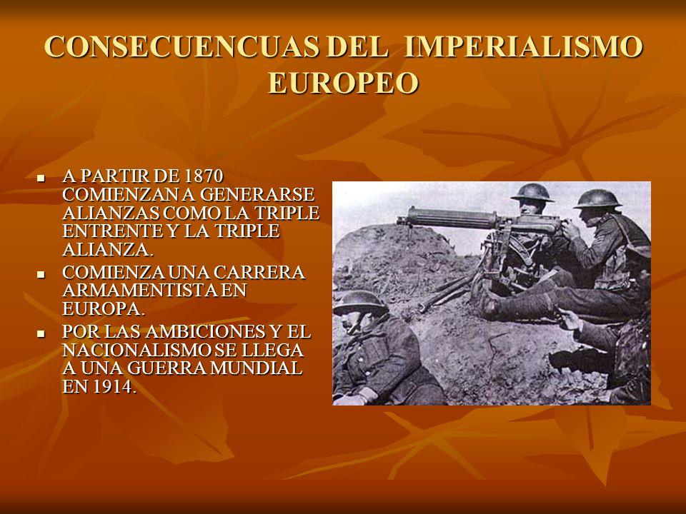 CONSECUENCUAS DEL IMPERIALISMO EUROPEO A PARTIR DE 1870 COMIENZAN A GENERARSE ALIANZAS COMO LA TRIPLE ENTRENTE Y LA TRIPLE ALIANZA. A PARTIR DE 1870 C