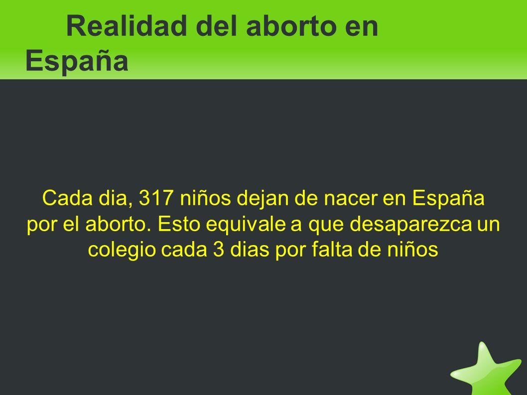 Realidad del aborto en España Cada dia, 317 niños dejan de nacer en España por el aborto. Esto equivale a que desaparezca un colegio cada 3 dias por f